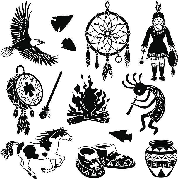 Indian art clipart vector black and white download Native American Indian Designs Silhouette Clip Art, Vector Images ... vector black and white download