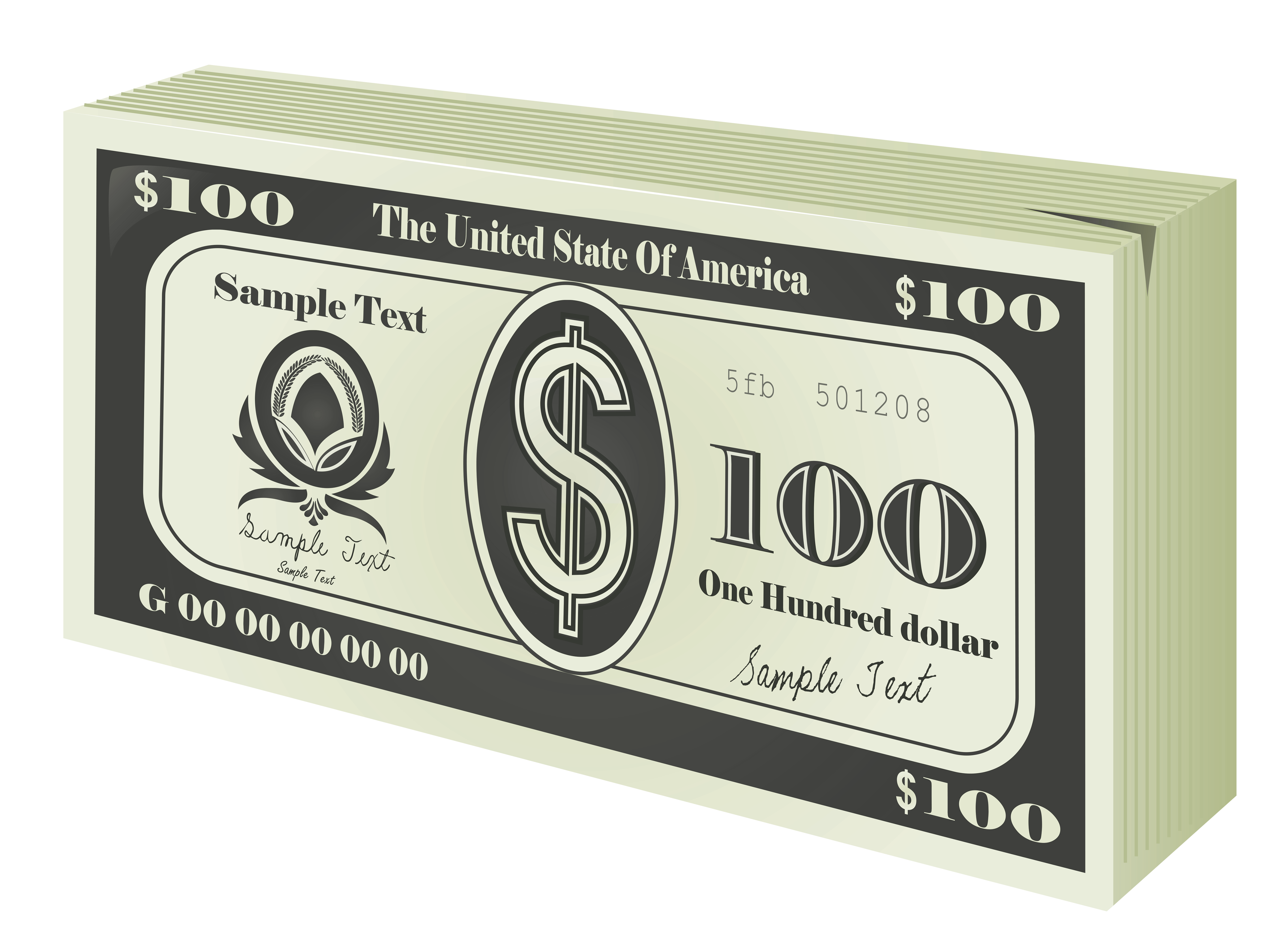 Money bucks clipart vector transparent library 100 Bucks Wad PNG Clipart | Gallery Yopriceville - High-Quality ... vector transparent library