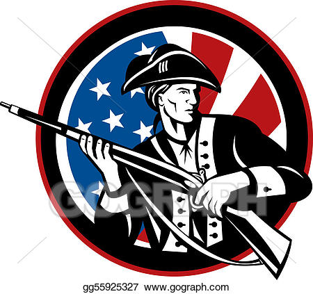 American revolution weapons clipart clip art transparent library Clipart - American revolutionary soldier with rifle and flag in ... clip art transparent library