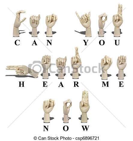 Clipart of Can You Hear Me Now in Sign Language - Can You Hear Me ... vector black and white library