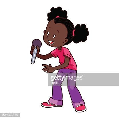 American singing clipart image library Cartoon African American Girl Singing With A Microphone premium ... image library