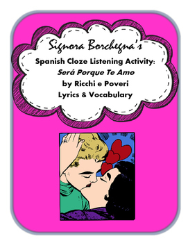 Amo espanol clipart jpg free stock Sera Porque Te Amo: Spanish Cloze Song Activity and Questions jpg free stock