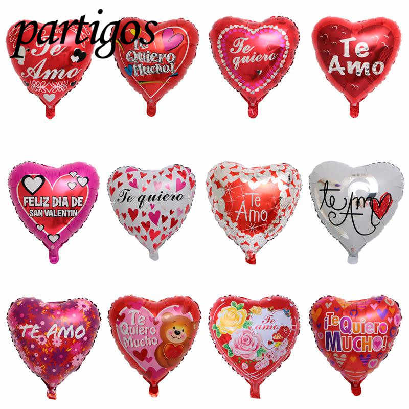 Amo espanol clipart royalty free download 50pcs 18 inch Valentine\'s Day Foil Balloon Heart balloon Te Amo ... royalty free download