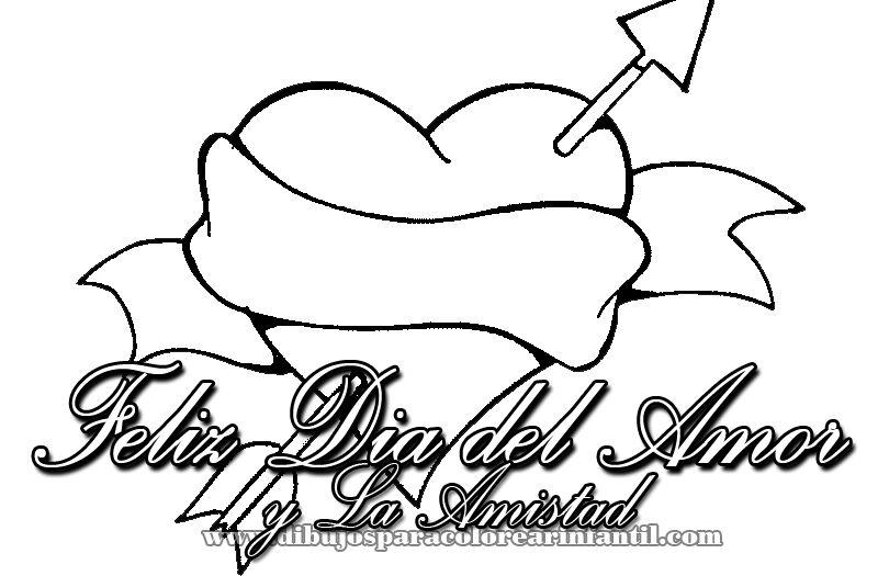 Amor y amistad clipart black and white clip art download Corazon del Dia del Amor y la Amistad para colorear   Día de San ... clip art download
