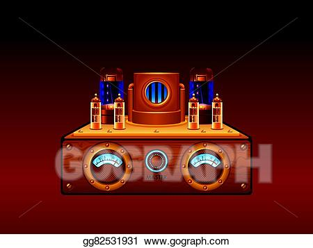 Amp tube clipart black and white download Vector Art - Steampunk amplifier. EPS clipart gg82531931 - GoGraph black and white download