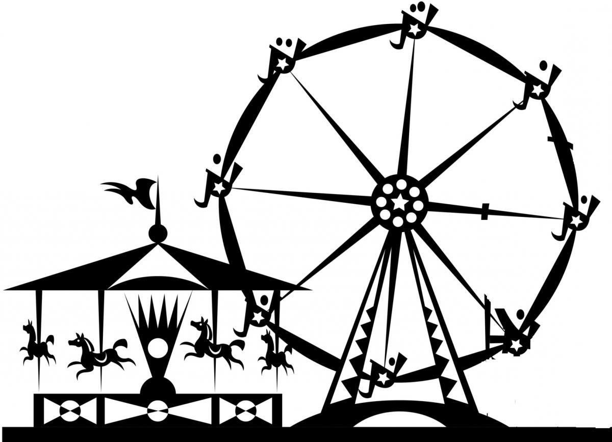 Amusement park clipart silhouette vector library Amusement Park Drawing at PaintingValley.com | Explore collection of ... vector library