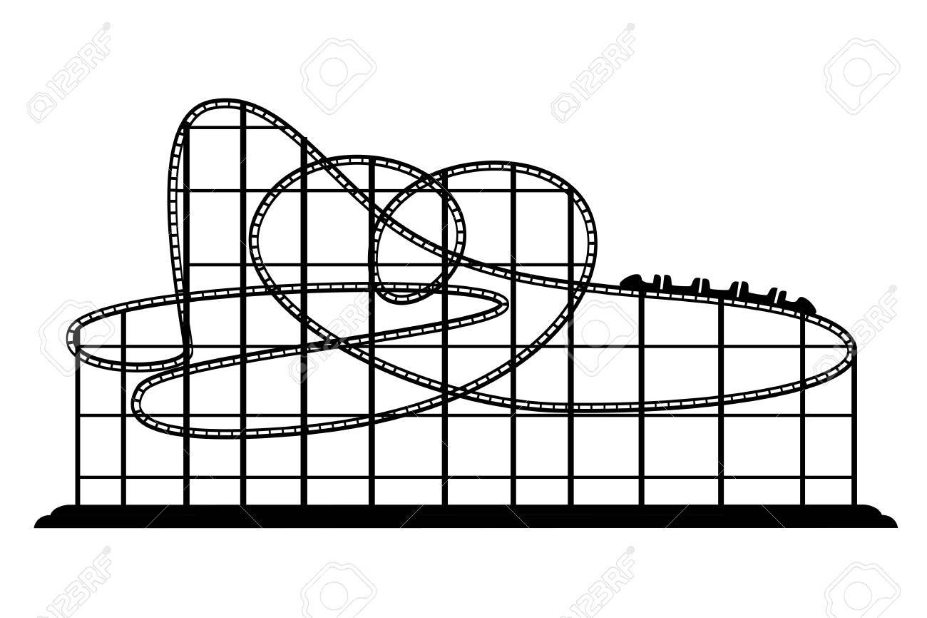 Amusement park clipart silhouette png freeuse stock Black silhouette. Roller coaster from amusement park. Vector ... png freeuse stock