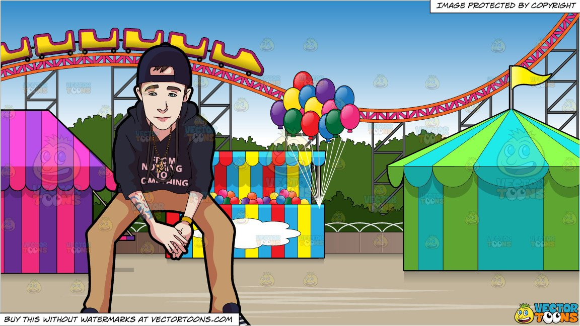 Amusement park clipart with teens png freeuse A Teenage Boy With Tattoos and An Amusement Park With Roller Coaster  Background png freeuse