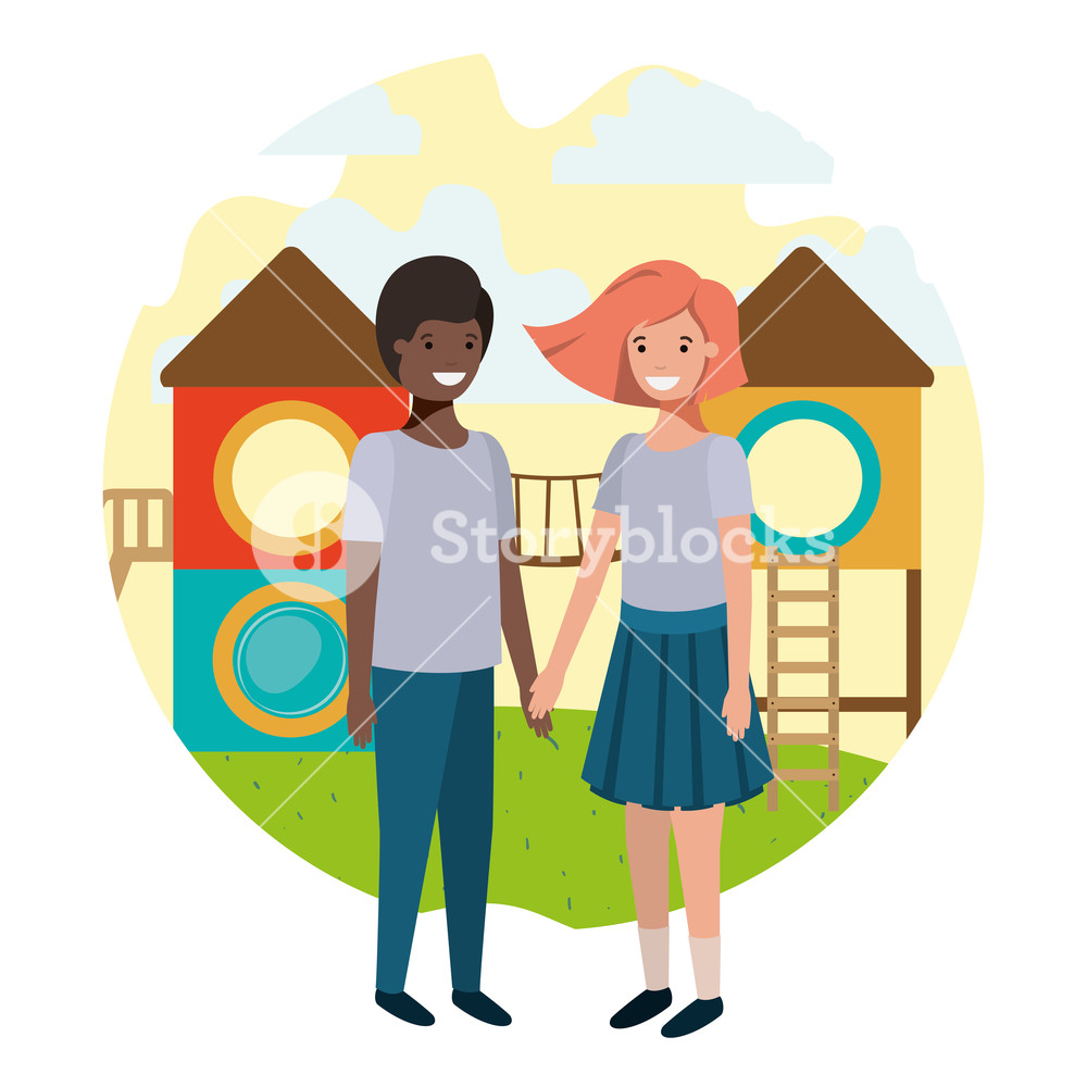 Amusement park clipart with teens jpg royalty free friendly teenagers ethnicity couple at the amusement park vector ... jpg royalty free