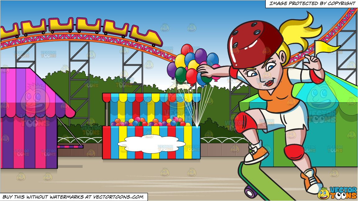 Amusement park clipart with teens jpg library download A Teenage Girl Jumping High With Her Skateboard and An Amusement Park With  Roller Coaster Background jpg library download
