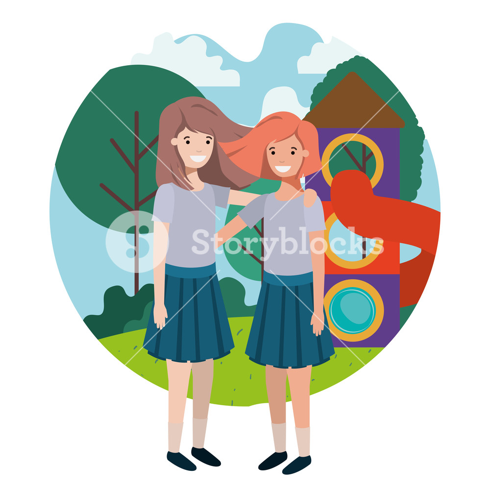 Amusement park clipart with teens png library download friendly teenagers girls at the amusement park vector illustration ... png library download