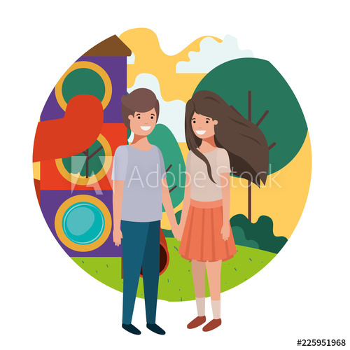Amusement park clipart with teens vector black and white download friendly teenagers couple at the amusement park - Buy this stock ... vector black and white download