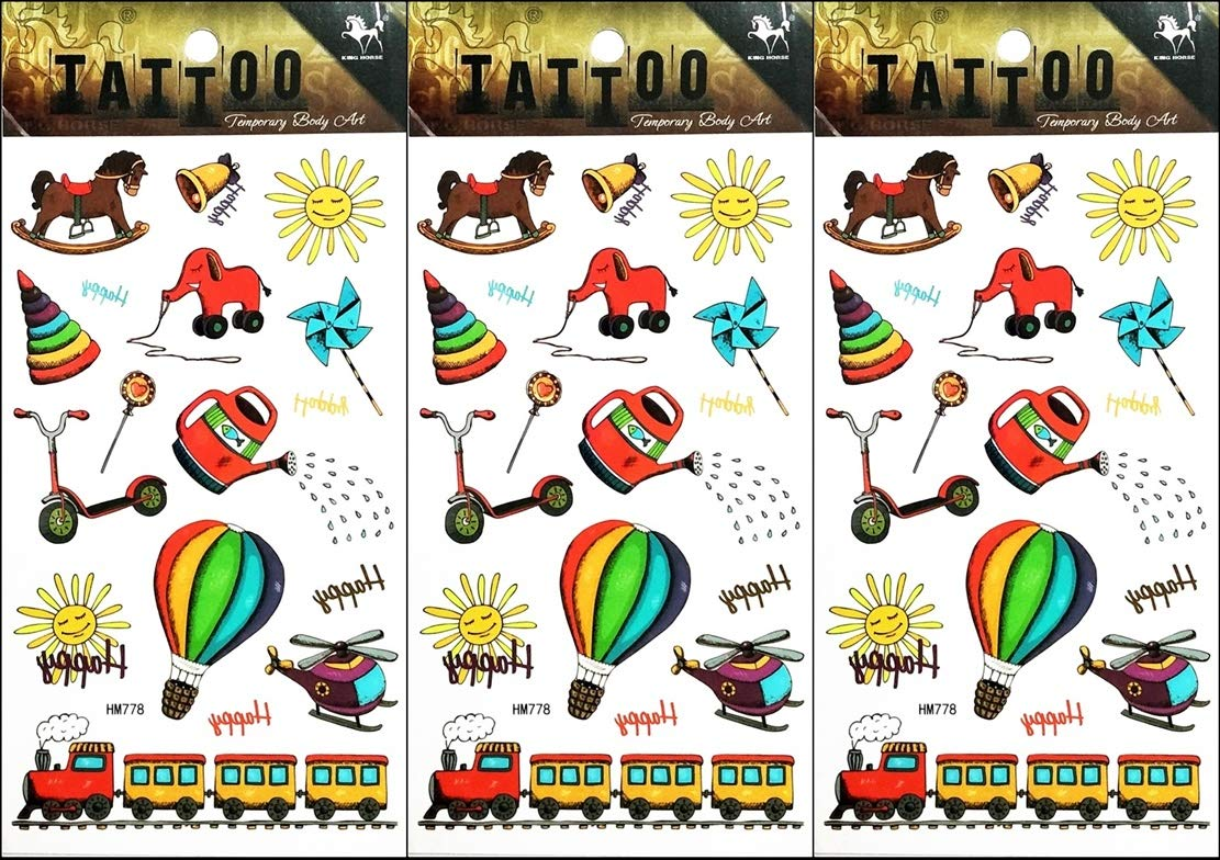 Amusement park clipart with teens jpg library stock Amazon.com: PP TATTOO 3 Sheets New Designs Amusement Park Train ... jpg library stock