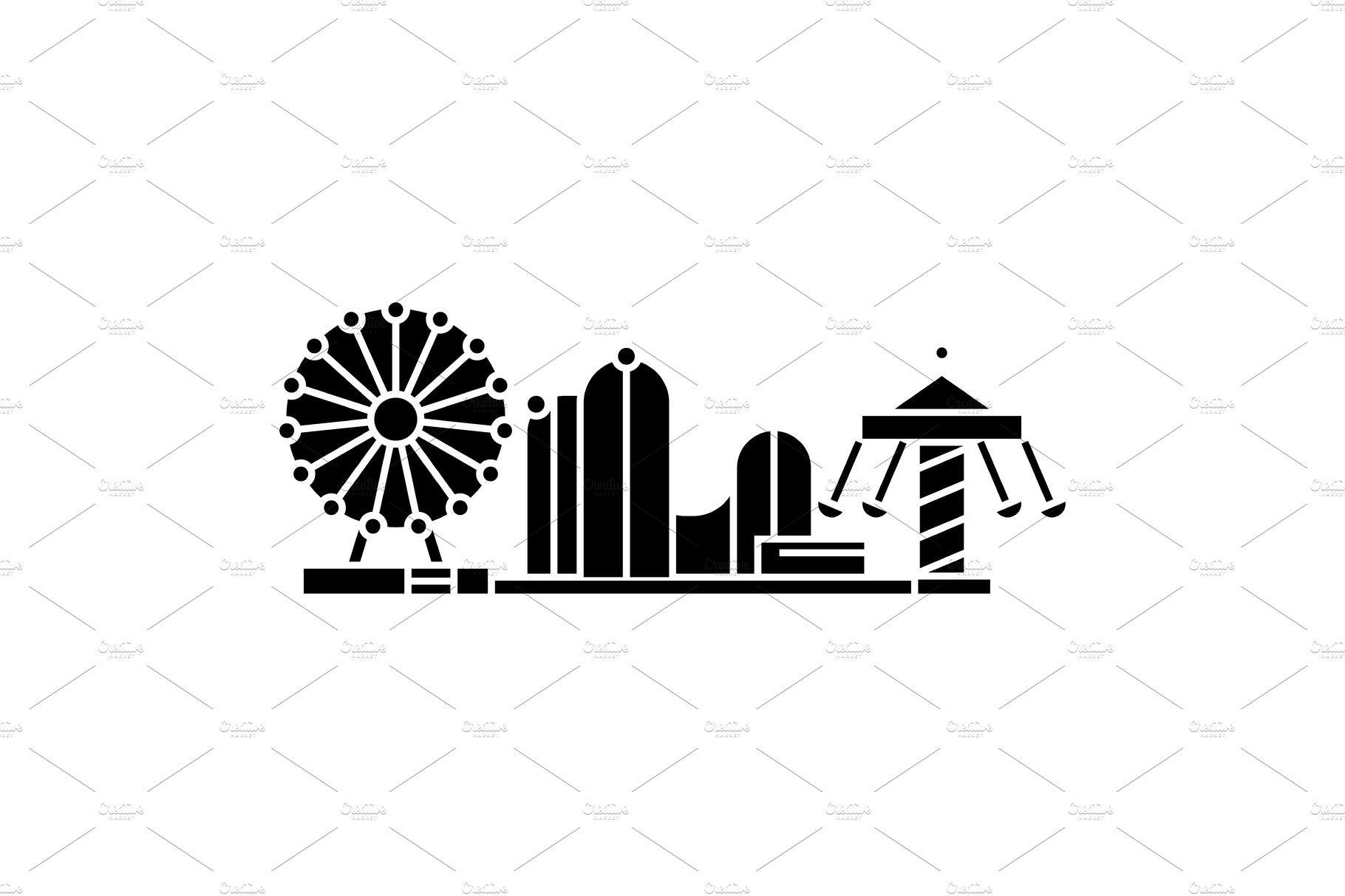 Amusement park signs clipart jpg royalty free Amusement park black icon concept. Amusement park vector sign, symbol,  illustration. jpg royalty free
