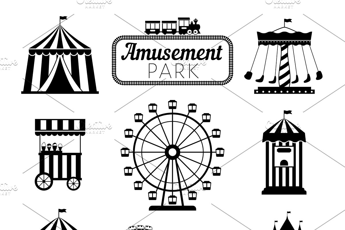 Amusement park signs clipart image transparent Amusement park black icons image transparent
