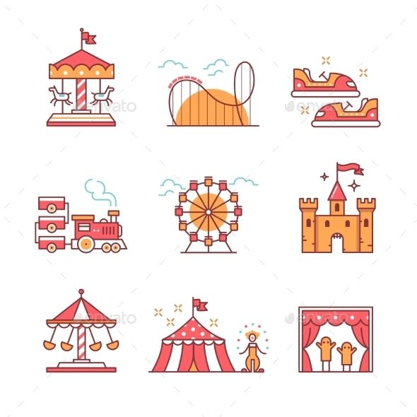 Amusement park signs clipart graphic free stock Theme Amusement Park Set by IconicBestiary Theme amusement park ... graphic free stock