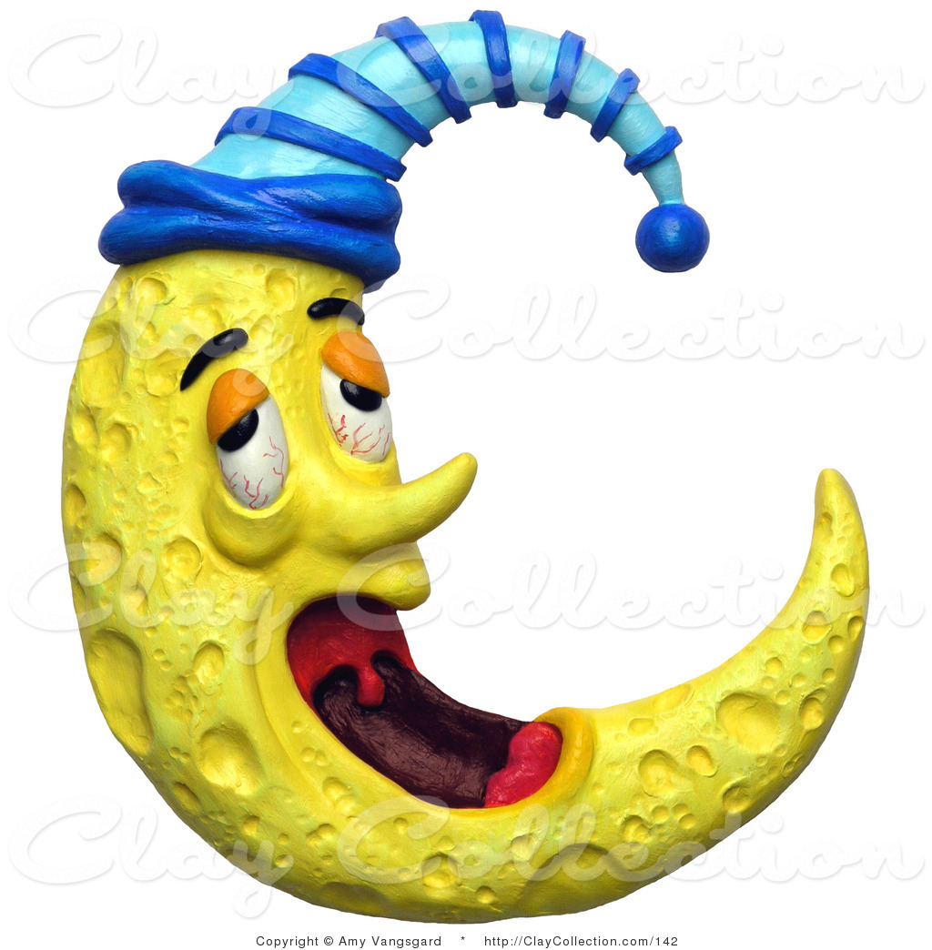 Amy cap clipart jpg library library Clay Illustration of a 3d Yawning Tired Crescent Moon with a Night ... jpg library library