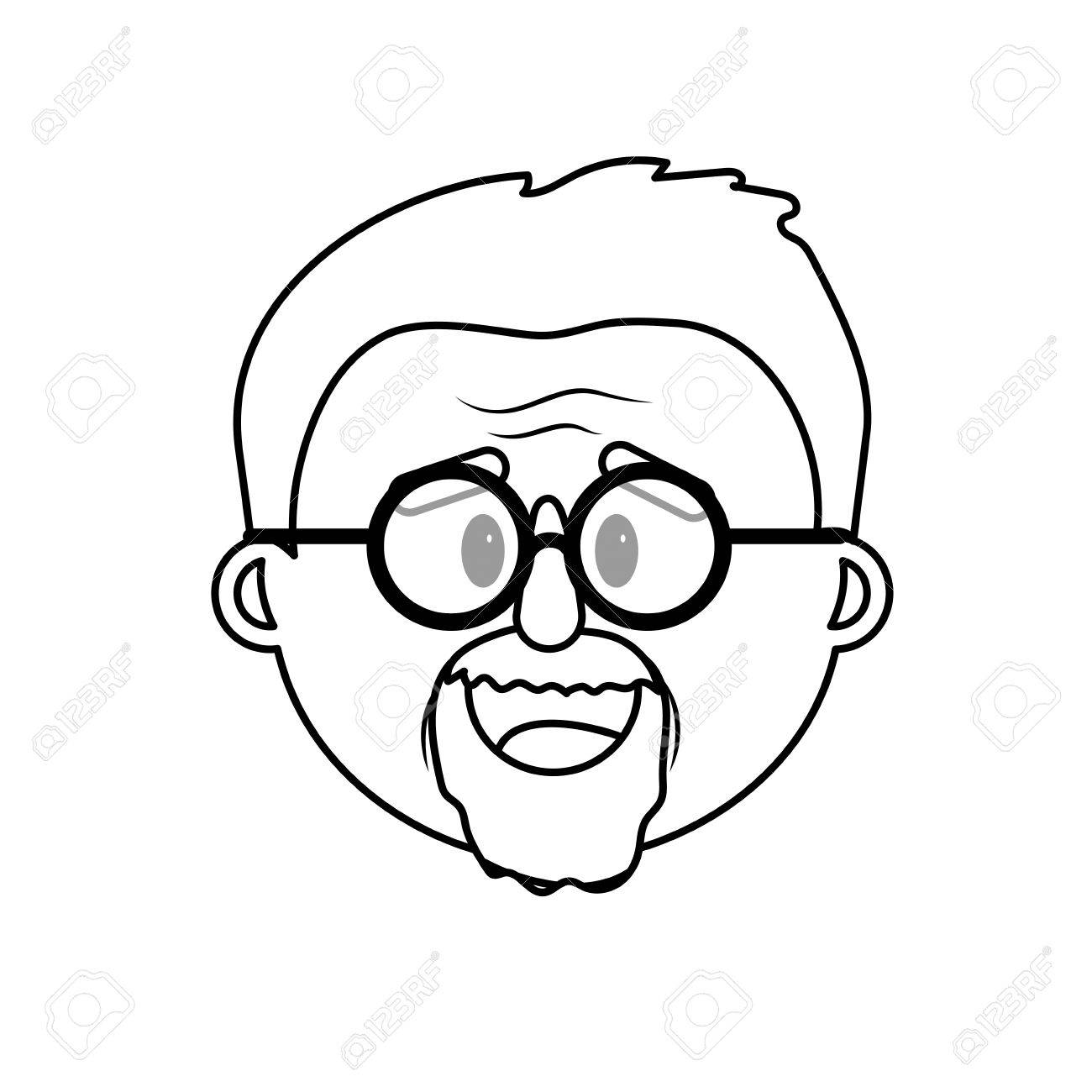 An old man face clipart free library Line old man face with hairstyle » Clipart Station free library