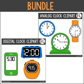 Analog to digital clipart jpg transparent Analog & Digital Clocks Clipart Bundle jpg transparent