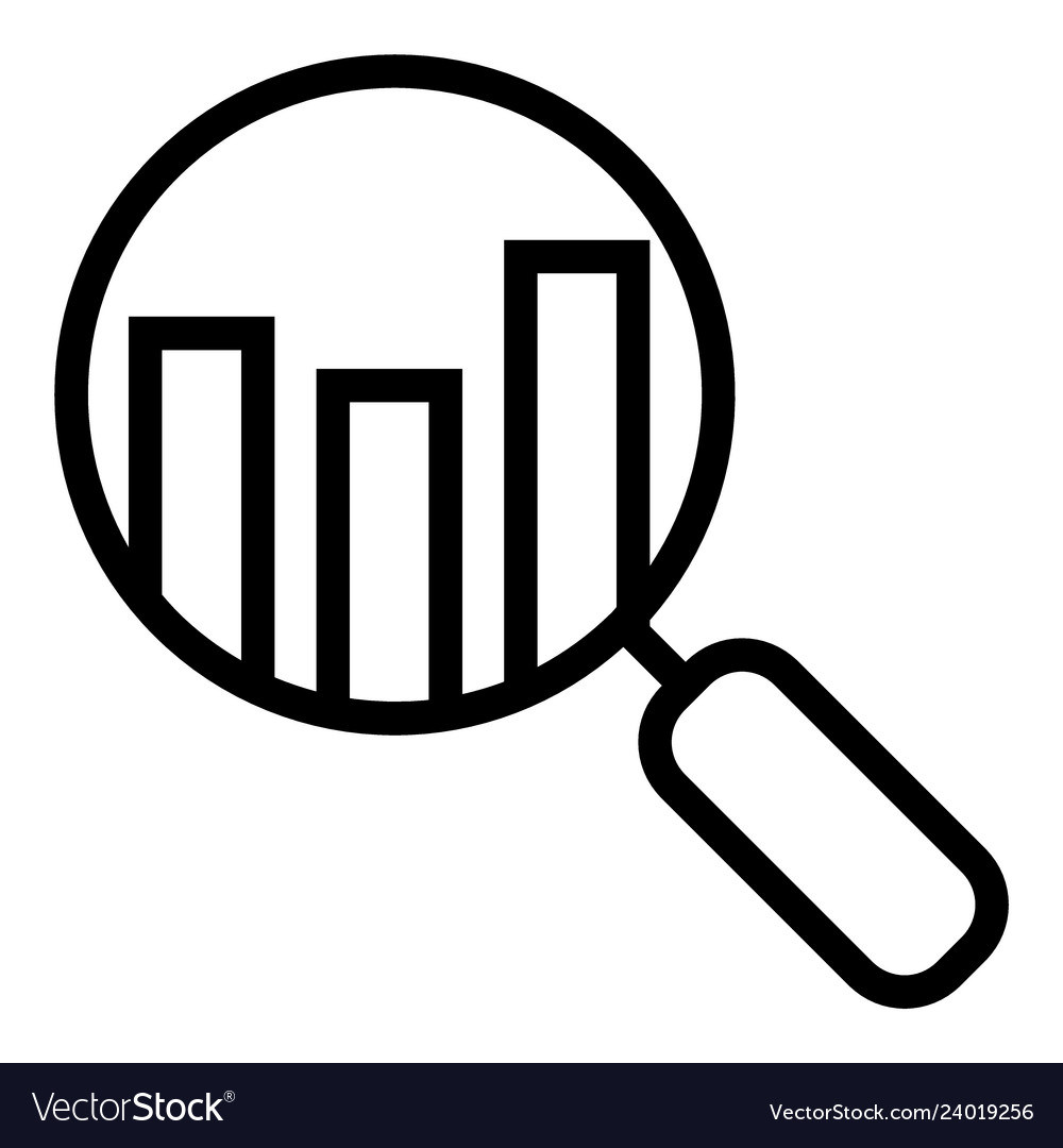 Analyze graph clipart free clipart black and white stock Analyze line icon lens with chart clipart black and white stock