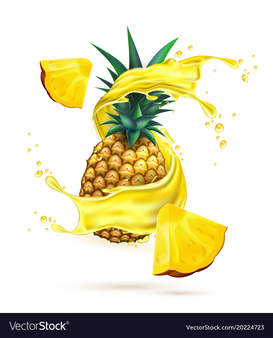 Ananas juice clipart svg black and white stock Realistic pineapple juice splash slice svg black and white stock