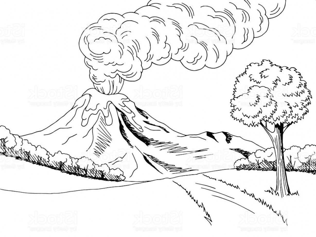 Black and white volcano clipart png library download Volcano paintings search result at PaintingValley.com png library download