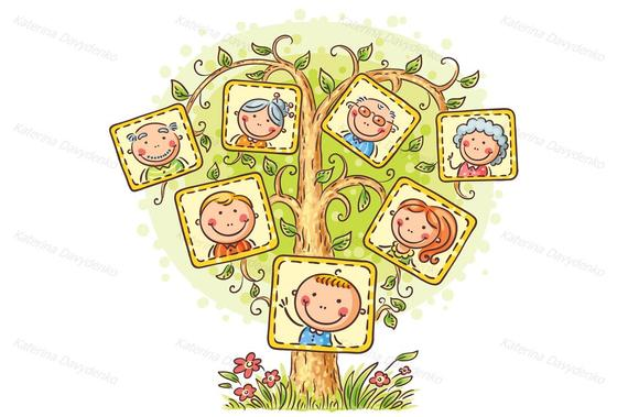 Ancestery links clipart black and white library Family tree in pictures. Family clipart, cartoon family, family ... black and white library