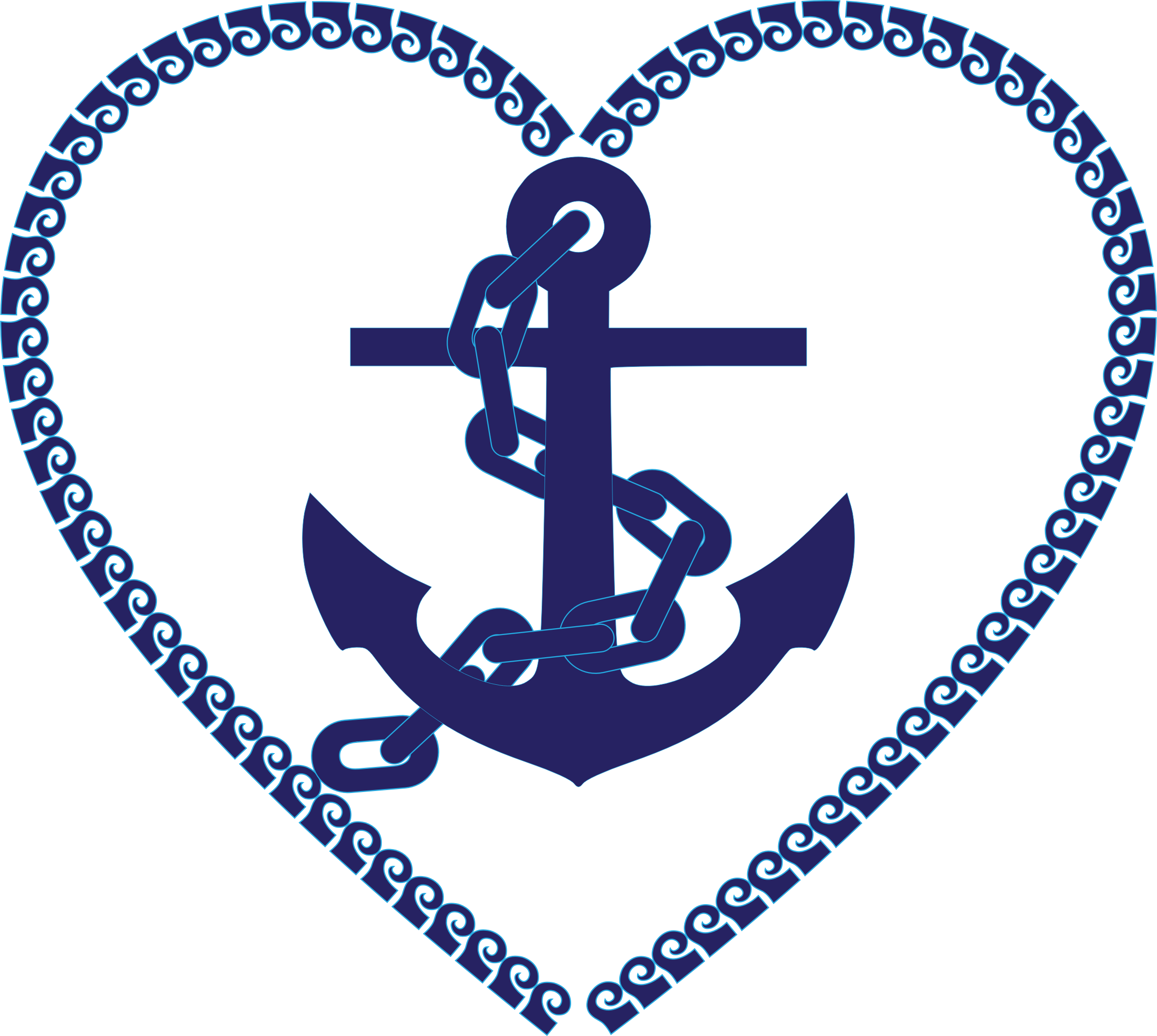 Anchor and chain clipart clip black and white download Nautical Anchor Heart Clip Art Free | Clipart - Nautical Heart ... clip black and white download