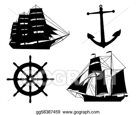 Anchor and sailboat clipart svg Vector Art - Silhouettes of sailboats, anchors and steering wheel ... svg