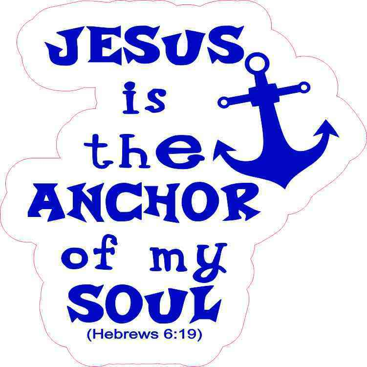 Anchor bible verse clipart banner black and white library 5in x 5in Blue and White Jesus Is the Anchor Sticker | StickerTalk® banner black and white library