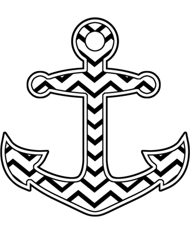 Anchor chevron clipart graphic freeuse download Chevron Anchor coloring page | Free Printable Coloring Pages graphic freeuse download