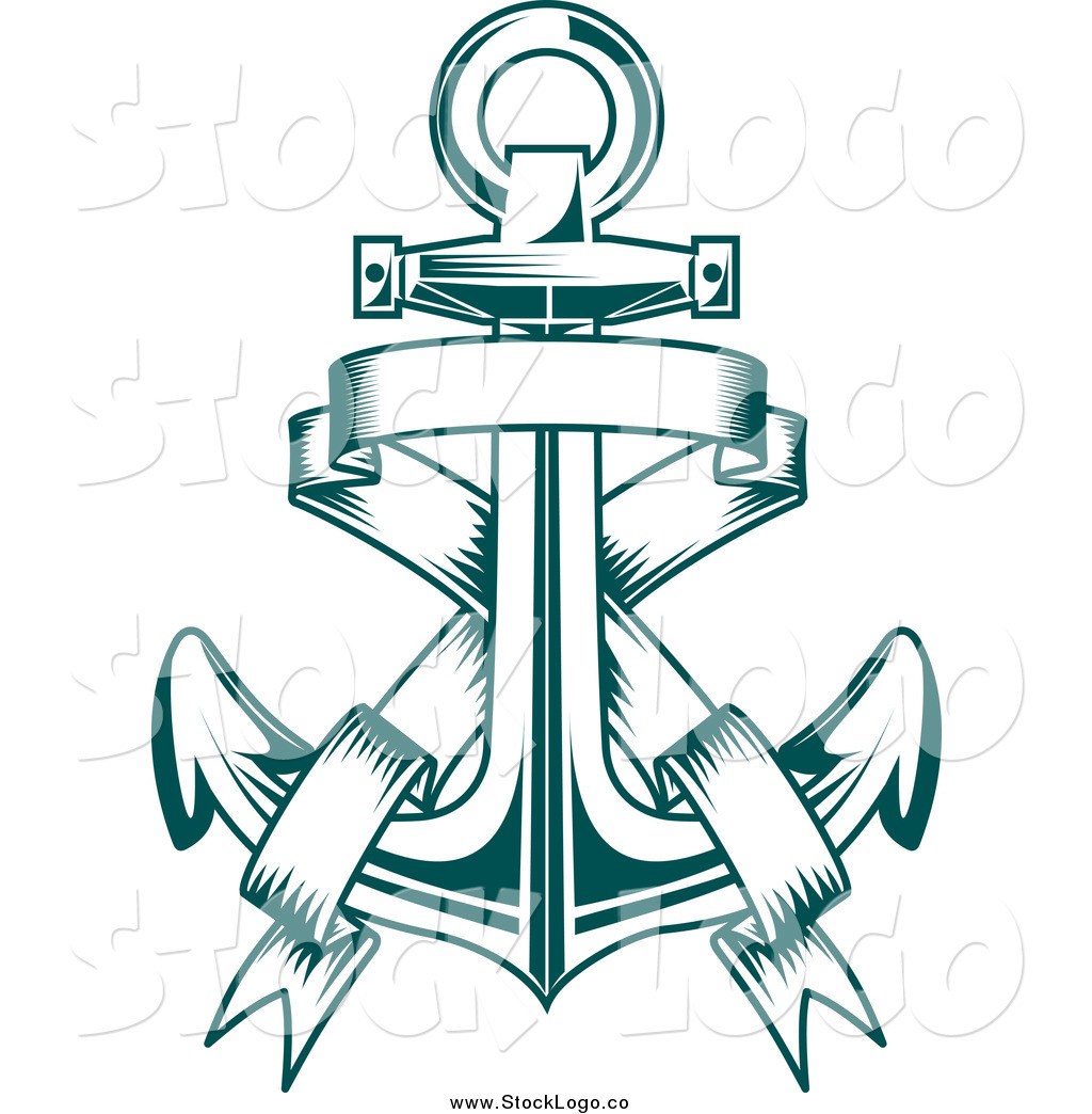 Anchor with banner clipart picture transparent stock Vector Clipart of a Teal Anchor and Banner Logo by Vector Tradition ... picture transparent stock