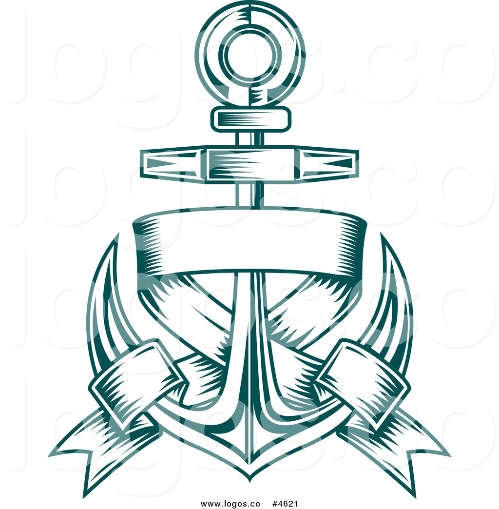 Anchor with banner clipart jpg free download Royalty Free Nautical Anchor and Blank Text Banner Logo by Vector ... jpg free download