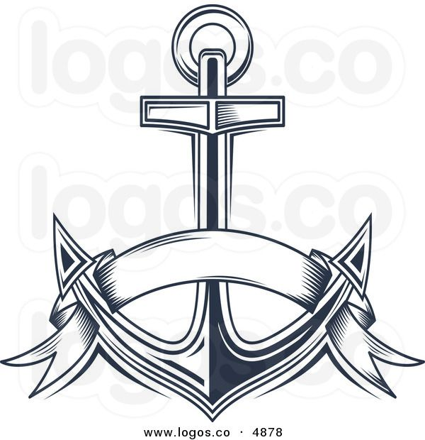 Anchor with banner clipart picture free library Royalty Free Vector of a Blue Anchor and Banner Logo | Girls camp ... picture free library