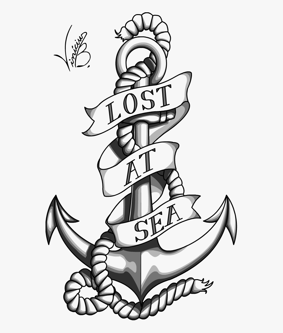 Anchor with banner clipart svg library download Reading For Tattoo - Anchor With Banner Tattoo #2139173 - Free ... svg library download