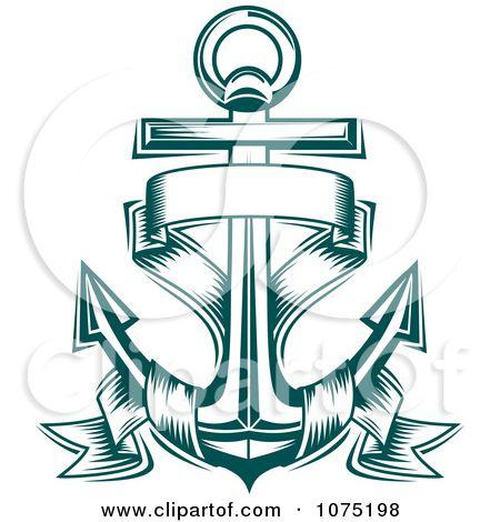 Anchor with banner clipart clip art transparent anchor banner tattoos | Clipart Teal Nautical Anchor And Banner Logo ... clip art transparent