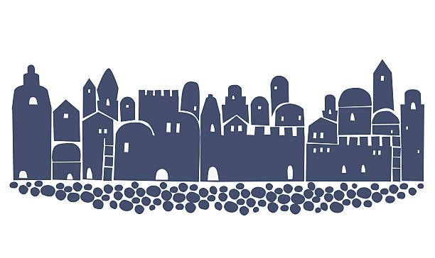 Ancient cities clipart image black and white stock skyline jerusalem first century silhouette | Israel Clip Art, Vector ... image black and white stock
