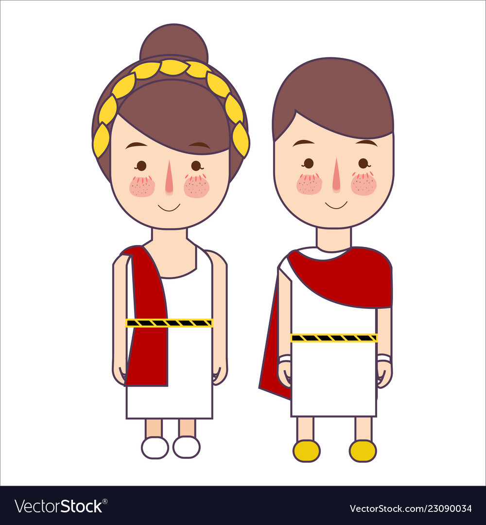 Ancient greek costumes clipart clipart black and white Girl and boy wearing ancient rome greek costume clipart black and white