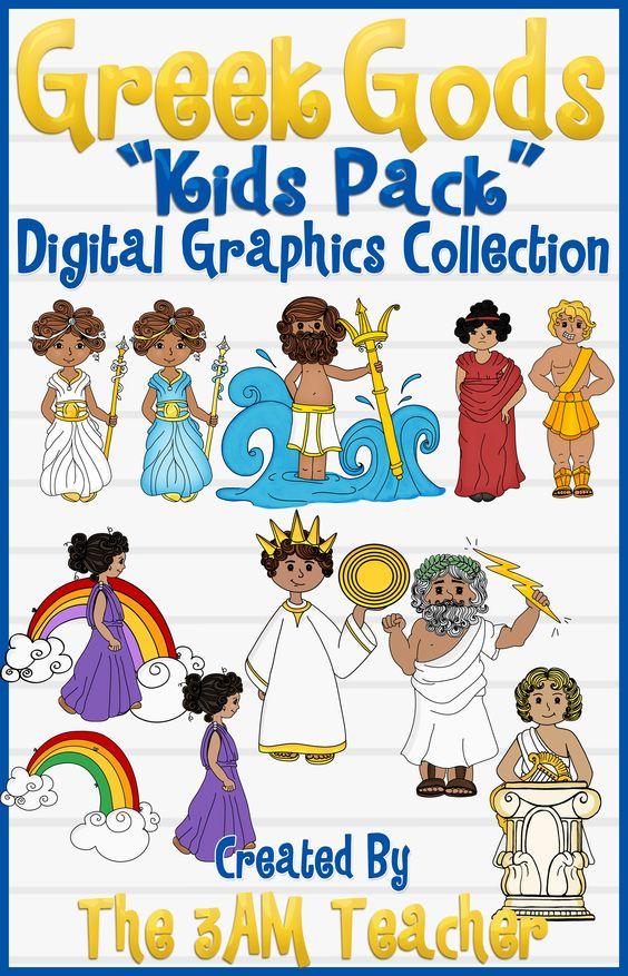Greek Gods: Kids Pack Clip Art | Graphics, Kid and God image