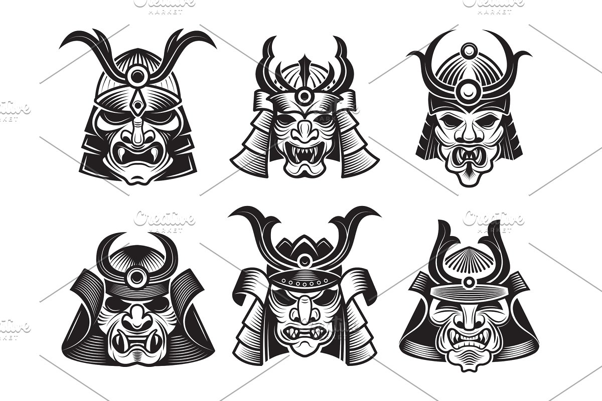 Ancient japanes warriors clipart svg library stock Asian martial mask. Japanese samurai svg library stock
