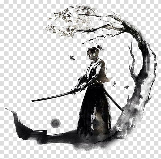 Ancient japanes warriors clipart clip black and white download Man holding stick under the tree illustration, Japan Samurai Drawing ... clip black and white download
