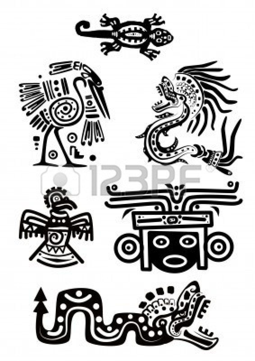 Ancient mexican designs clipart black and white stock Stock Vector | mexican tribal vector in 2019 | Mayan tattoos, Aztec ... black and white stock