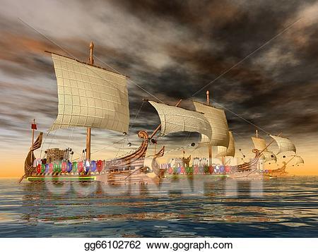 Ancient roman sailing clipart picture transparent Stock Illustrations - Ancient roman warships. Stock Clipart ... picture transparent