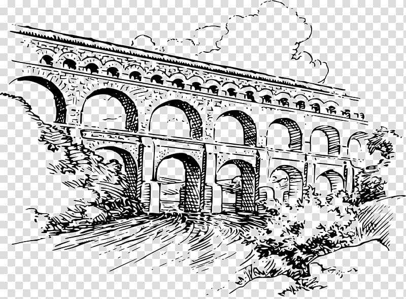 Ancient rome aqueducts clipart vector royalty free download Pont du Gard Roman aqueduct Drawing , roman transparent background ... vector royalty free download