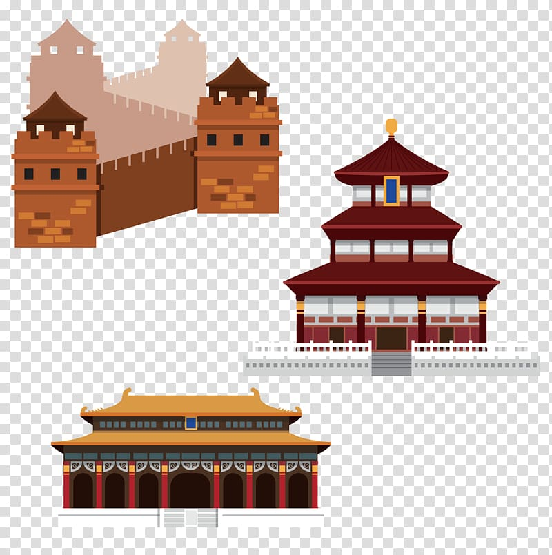 Ancient chinese temple clipart jpg free stock Three Chinese temples illustration, China Chinese Illustration, The ... jpg free stock