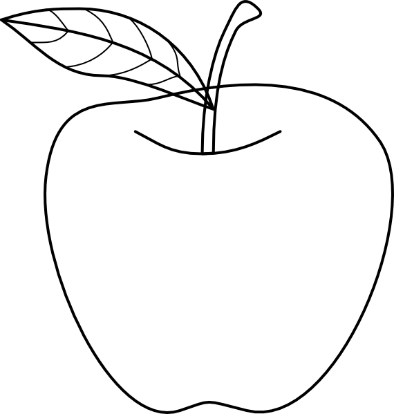 Teacher apple black and white clipart