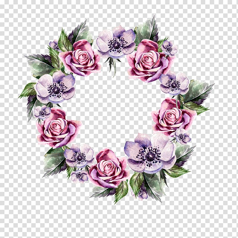 Anemone and rose clipart image free stock Pink and purple rose and anemone wreath illustration, Flower ... image free stock