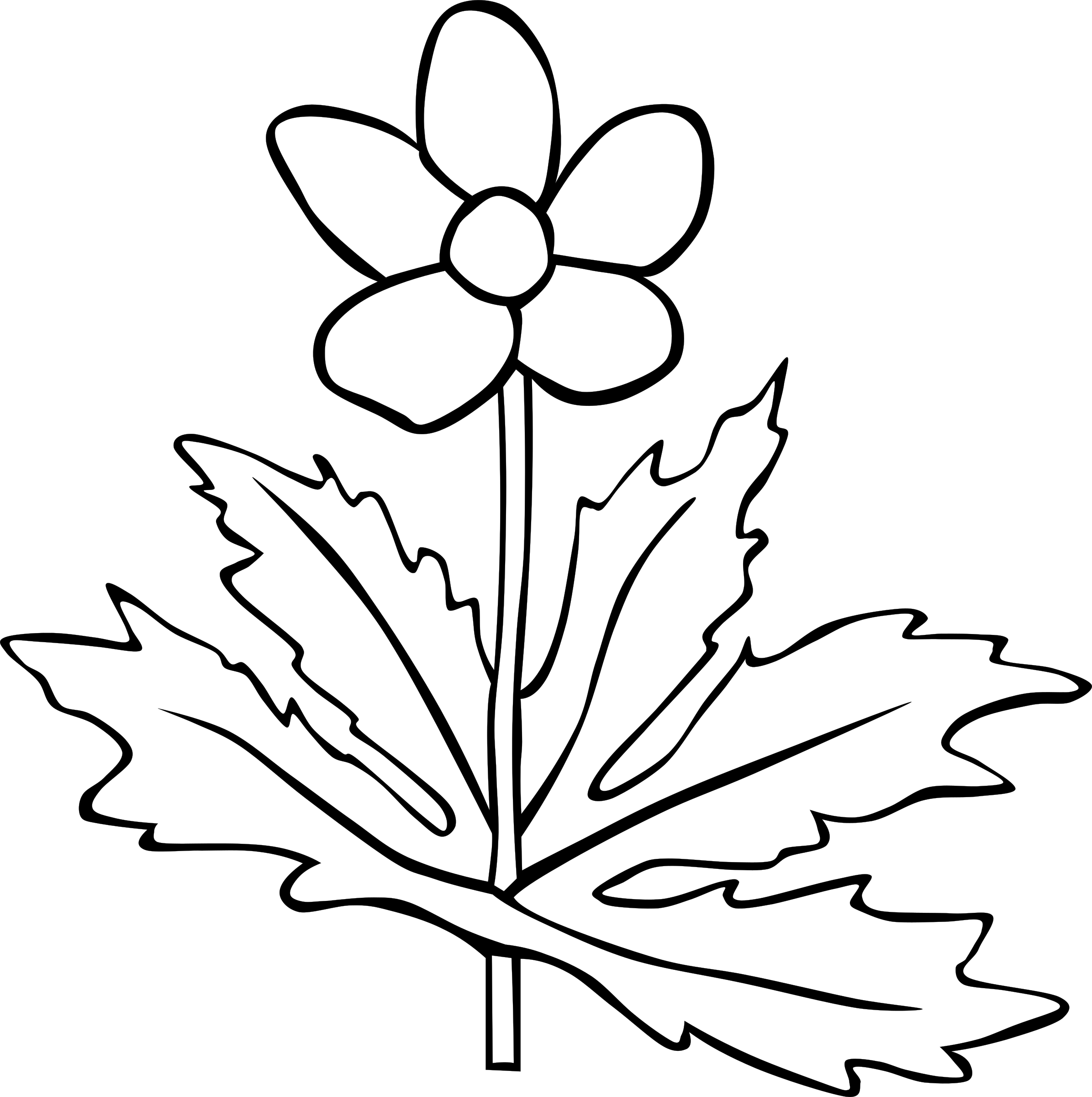 Flower outline clipart jpg transparent download Clipart - Anemone Canadensis Flower Outline jpg transparent download