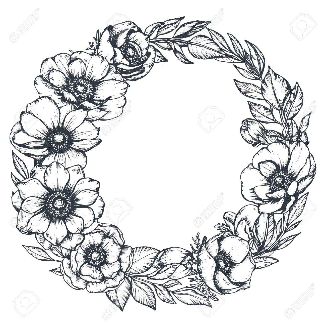 Anemones clipart black and white jpg freeuse stock Vector black and white floral wreath of hand drawn anemone flowers ... jpg freeuse stock