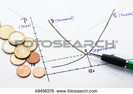 Stock Illustration of Supply and demand chart drawn on a paper ... picture transparent stock